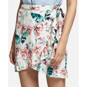 Sanctuary サンクチュアリ ファッション スカート Sanctuary NEW White Womens Size XS Tropical Floral Ruffle Wrap Skirt