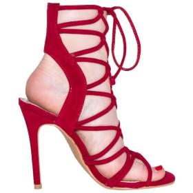 [Kolnoo] 新しい到着レディースハイヒールサンダル 日本の夏の靴ファッションオフィスデイリーシューズ レッド 23.0cm