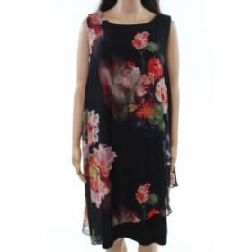 ファッション ドレス SL Fashions NEW Black Womens Size 14W Plus Floral-Print Sheath Dress