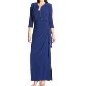 Alex Evenings アレックスイブニングス ファッション ドレス Alex Evenings Womens 14 Ocean Blue Draped Rhinestone-Trim Gown