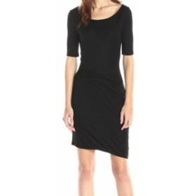 Three Dots スリー ドッツ ファッション ドレス Three Dots NEW Black Women Size Large L Ruched Asymmetric Sheath Dress