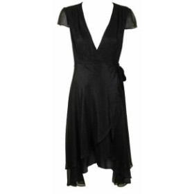 Betsey Johnson ベッツィージョンソン ファッション ドレス Betsey Johnson Black Cap Sleeve Tonal Print High-Low Wrap Dress 6