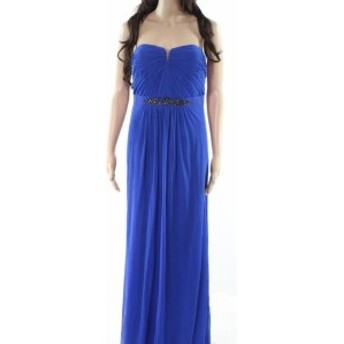 Adrianna Papell アドリアーナ パペル ファッション ドレス Adrianna Papell NEW Blue Womens Size 10 Embellished Strapless Gown
