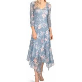 Komarov コマロフ ファッション ドレス Komarov Womens Blue Size XL Floral Print Asymmetric Sheath Dress