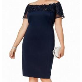 ファッション ドレス SLNY NEW Blue Womens 20W Plus Off-Shoulder Lace Applique Sheath Dress