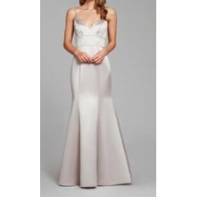 Hayley Paige ヘイリーペイジ ファッション ドレス Hayley Paige NEW Silver Womens Size 12 V-Neck Mermaid Sheath Dress