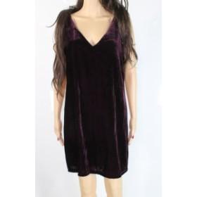 MELLODAY  ファッション ドレス MELLODAY Womens Solid Purple Size Small S V-Neck Velvet Shift Dress