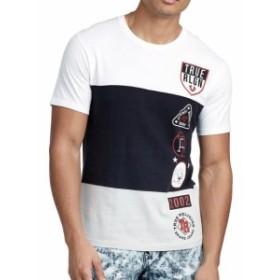 Religion  ファッション トップス True Religion Mens 3 Panel Patch Crew Neck Tee T-Shirt (Size XL 2XL 3XL)