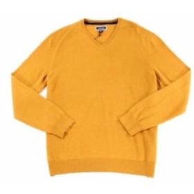 ファッション トップス Club Room Mens Yellow Size Large L Solid Knit V-Neck Wool Sweater