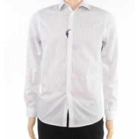 ファッション ドレス INC Mens Dress Shirt White Size XS Broken Stripe Print Long Sleeve