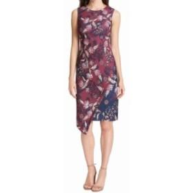 Vince ヴィンス ファッション ドレス Vince Camuto Womens Dress Purple Size 14 Aysmmetrical Printed Sheath