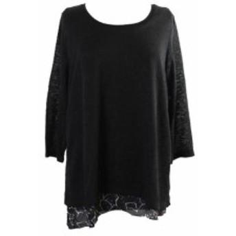 ファッション トップス Style & Co. Black 3/4-Sleeve Layered-Look Pullover XL