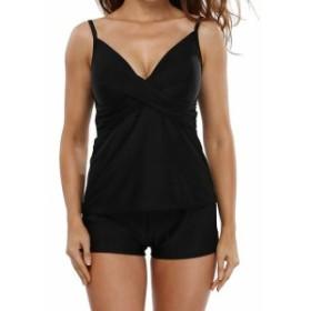 スポーツ用品 スイミング ALove NEW Deep Black Womens Size 3XL Plus Tankini Padded Solid Swimwear #516