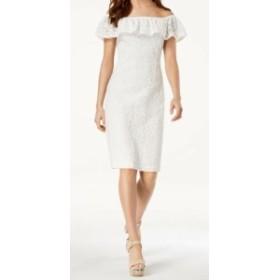 XOXO キスハグ ファッション ドレス XOXO NEW White Size XS Junior Floral Lace Ruffle Trim Sheath Dress