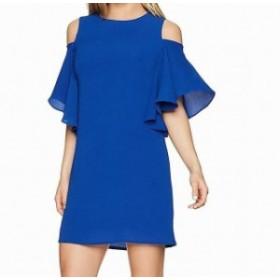 London Times ロンドンタイムズ ファッション ドレス London Times NEW Blue Womens Size 10P Petite Ruffle Sleeve Shift Dress