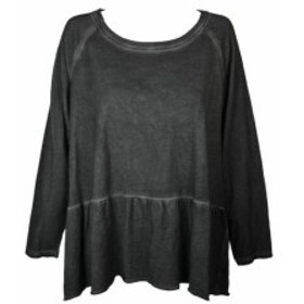 ファッション トップス Style & CO Black Deep Raglan-Sleeve Peplum with Tops Sweatshirt L