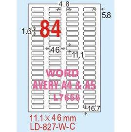 【龍德】LD-827(圓角) 平光防水高解析噴墨標籤 11.1x46mm 20大張/包