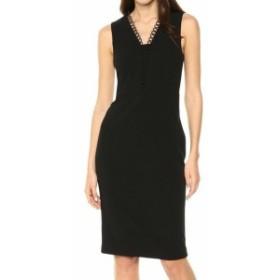 Calvin Klein カルバンクライン ファッション ドレス Calvin Klein NEW Black Womens Size 4 Looped-Trim Seamed Sheath Dress