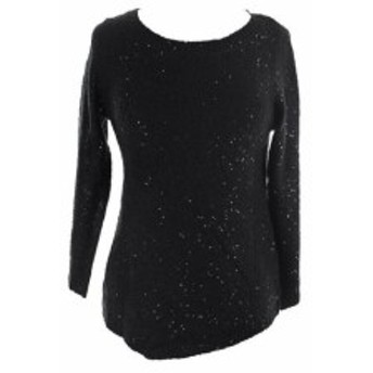 Anne Klein アンクライン ファッション トップス Anne klein new black 3/4 - sleeve tunic sequin sweater xs