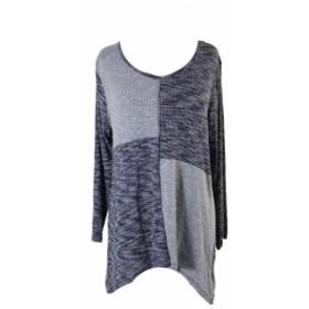 Marled  ファッション トップス Style & Co. Blue Marled Colorblocked Bridge-Hem Top M