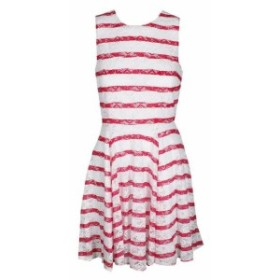 Berry ベリー ファッション ドレス Maison Jules White Berry Pink Combo Striped Lace Fit Flare Dress L