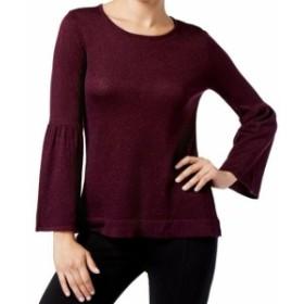 Calvin Klein カルバンクライン ファッション トップス Calvin Klein NEW Purple Womens Large L Metallic Trumpet Sleeve Sweater