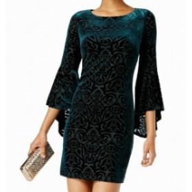 bell ベル ファッション ドレス Jessica Howard NEW Green Burnout Velvet Bell Sleeve 10 Sheath Dress