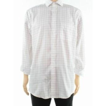 ファッション ドレス Tasso Elba Mens Dress Shirt White Wheat Size Large L Grid Print
