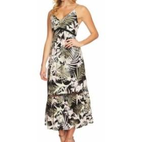 CeCe  ファッション ドレス CECE NEW Black Green Womens Size 4 V-Neck Palm-Print Maxi Dress