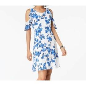 Nine West ナインウエスト ファッション ドレス Nine West Blue White Floral Printed Cold-Shoulder 2 Sheath Dress