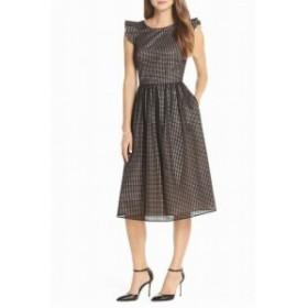 1901 ワンナインオーワン ファッション ドレス 1901 NORDSTROM Womens Black Size 8 Ruffle Grid Overlay Midi Dress