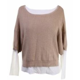 ファッション トップス Grace Elements New Warm Taupe Long-Sleeve Mixed-Media Dolman Sweater M