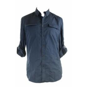 ファッション アウター Inc International Concepts Blue Textured Short Sleeve Finkler Shirt S