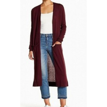 Red  ファッション トップス Susina Womens Burgundy Long KNit Red Size Large L Cardigan Sweater