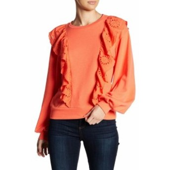 Melrose  ファッション トップス MELROSE AND MARKET NEW Orange Womens Medium PM Petite Crewneck Sweater