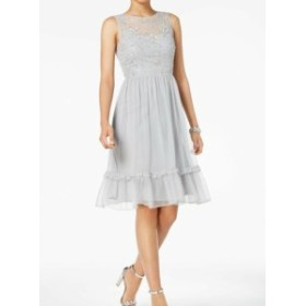 Adrianna Papell アドリアーナ パペル ファッション ドレス Adrianna Papell Womens Silver Size 8 Sequined Tulle A-Line Dress