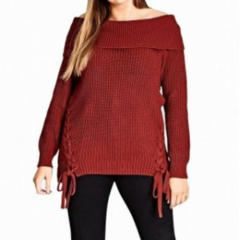 City Chic シティシック ファッション トップス City Chic NEW Red Womens Large L 20 Plus Off-Shoulder Knitted Sweater
