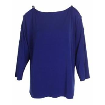 ファッション 衣類 Inc International Concepts Bright Blue 3/4-Sleeve Rhinestone Cold-Shoulder Top