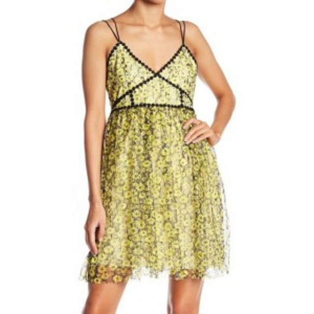 Romeo  ファッション ドレス Romeo + Juliet NEW Yellow Floral Lacey Women Small S A-Line Dress