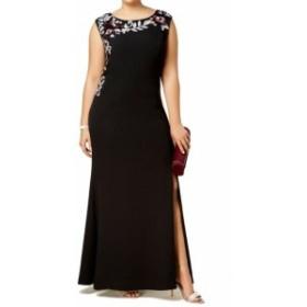 ファッション ドレス SLNY NEW Black Womens Size 14W Plus Embroidered Floral Gown Dress
