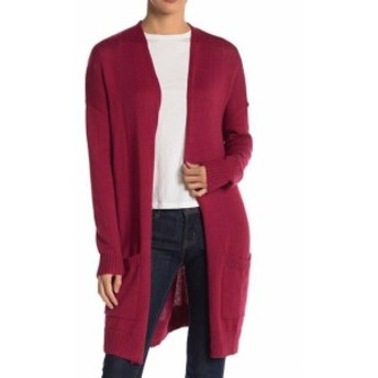 Red  ファッション トップス ABOUND NEW Rumba Red Womens XXS Open Front Long Knit Collarless Cardigan #382