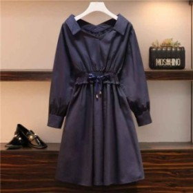 ワンカラーコットンシャツドレス ひざ丈 楽ちん カジュアル ワンカラー ブルー 秋 長袖 大きい ゆったり