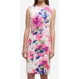 DKNY ダナキャランニューヨーク ファッション ドレス DKNY NEW Pink Blue Womens Size 8 Floral-Printed Scuba Sheath Dress