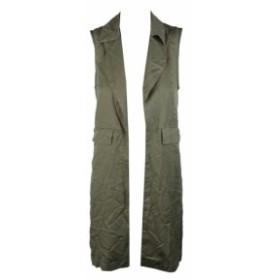 ファッション 衣類 BAR III Verde Oliva Abierto Delante Notched-Collar Utilitario Camiseta XXS