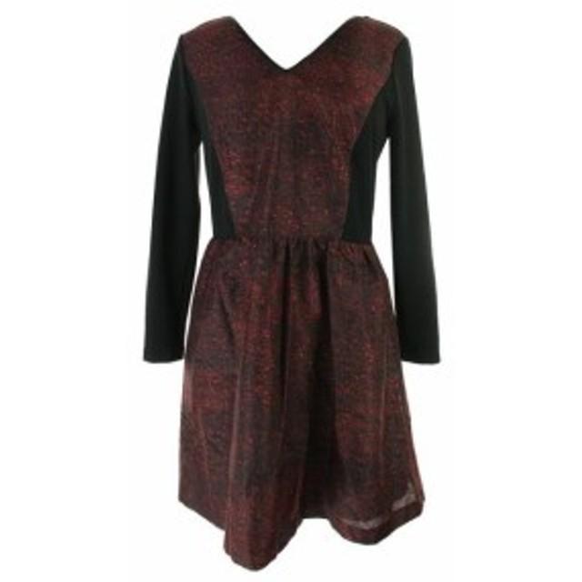 kensie ケンジー ファッション ドレス Kensie New Black Red Kensie 3/4-Sleeve Lace-Inset Poppy Dress L