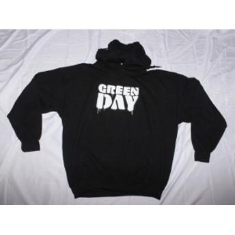 ファッション トップス Green Day-Drip Logo-X-Large Black Hooded Sweatshirt