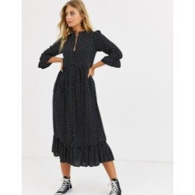 エイソス レディース ワンピース トップス ASOS DESIGN button through tiered smock maxi dress in spot Black/white spot