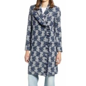 ファッション 衣類 Halogen NEW Blue Womens Size Medium M Floral Printed Ruffled Coat