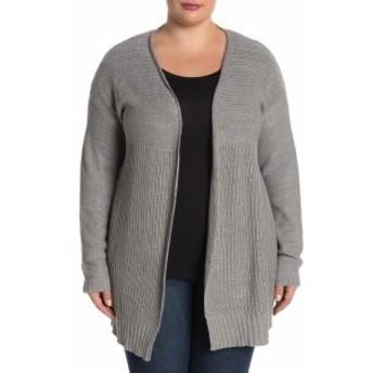 ファッション トップス RDI Womens Gray Size 1X Plus Open Front Knit Cardigan Sweater