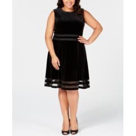 Calvin Klein カルバンクライン ファッション ドレス Calvin Klein Womens Dress Black Size 22W Plus A-Line Velvet Illusion